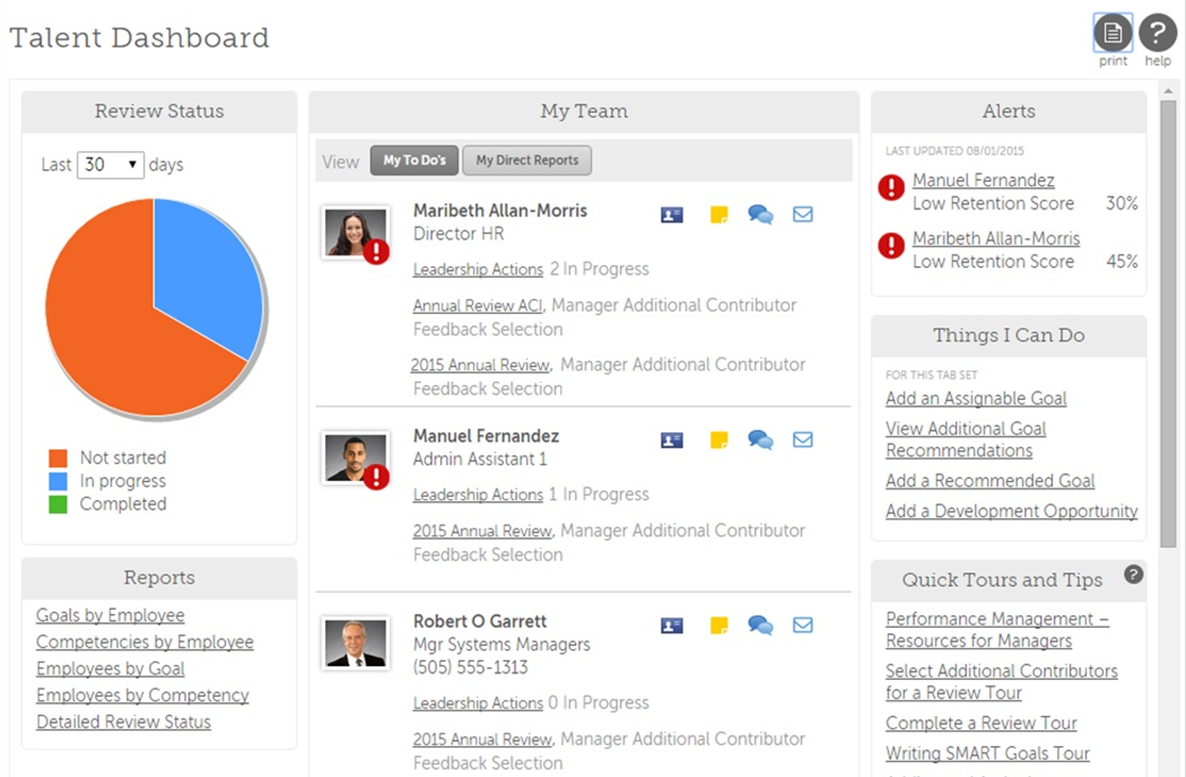 UltiPro Talent Dashboard.