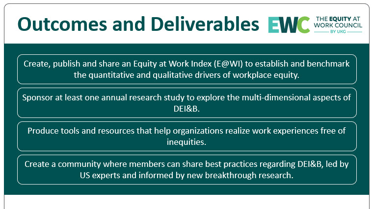 Outcomes and Deliverables for Equity at Work Council