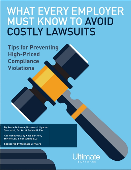 Gavel about to hit the podium- What Every Employer Must Know to Avoid Costly Lawsuits: Tips for Preventing High-Priced Compliance Violations - HCM Whitepaper